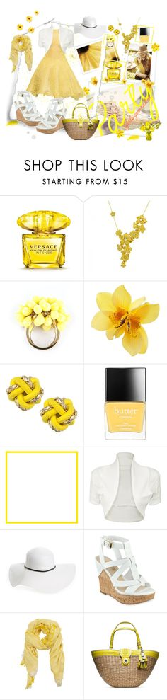 """In yellow for Monday"" by vst063090 ❤ liked on Polyvore featuring Versace, Carrera y Carrera, Juicy Couture, Knotty Gal, Butter London, John Rocha, WearAll, David & Young, MANGO and Coach"