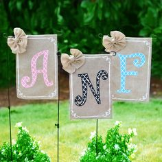 Save on outdoor flags now through May 25. Burlap and monogram flags are 20% off!
