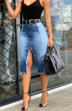 Denim Fashion, Girl Fashion, Fashion Dresses, Fashion Looks, Womens Fashion, Classy Outfits, Chic Outfits, Summer Outfits, Denim Skirt Outfits