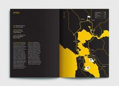 Bay Area Black and Gold Contrast Airport Map