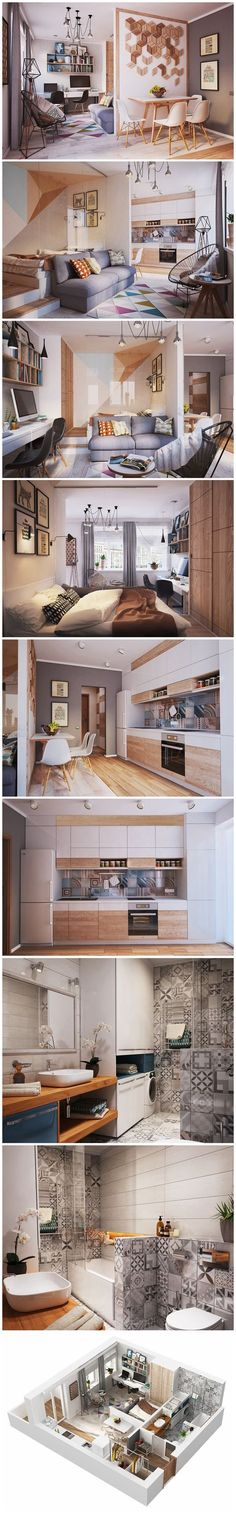 50 m² Small Apartment Interior Design Idea