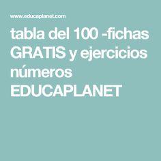 tabla del 100 -fichas GRATIS y ejercicios números EDUCAPLANET