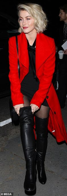 Julianne Hough rocks thigh-high boots and a bold red coat to holiday soiree in Los Angeles Thigh High Boots Outfit, Ladies Knee High Boots, Thigh High Leather Boots, Red Knee High Boots, Womens Thigh High Boots, Thigh High Heels, Long Boots, Celebrity Boots, Rubber Dress