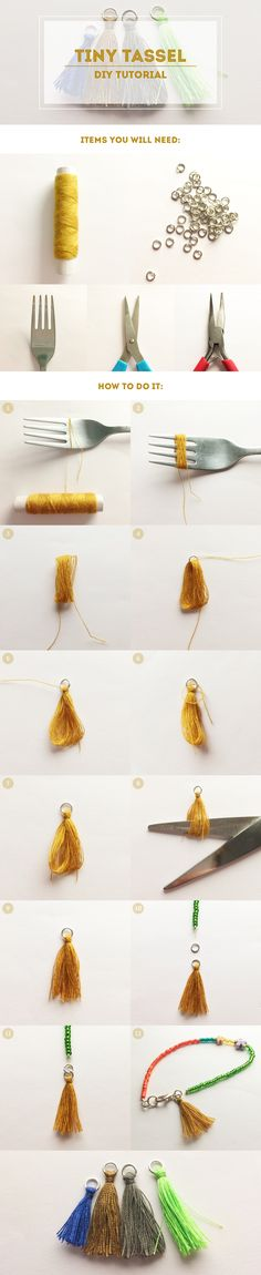 Tiny tassel DIY Tutorial using a fork. You need a pair of pliers (or two) to open the ring and to close it again. I don't know what I would need a small tassel for, but something might come up. Diy Jewelry Rings, Tassel Jewelry, Jewelry Crafts, Handmade Jewelry, Jewelry Making, Handmade Gifts, Tassel Necklace, Jewelry Bracelets, Handmade Bookmarks