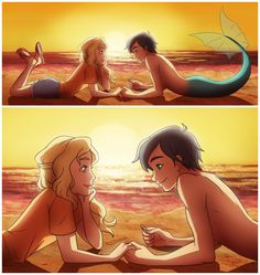 Percabeth AU where Percy is a merman and he comes to shore to visit his lady ;)