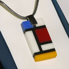 YSL inspired fused glass pendant