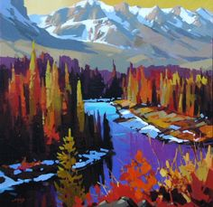 Paintings by Mike Svob Illustrations, Illustration Art, Landscape Artwork, Mountain Art, Mountain Paintings, Pastel, Painting Inspiration, Fine Art Photography, Creative Art