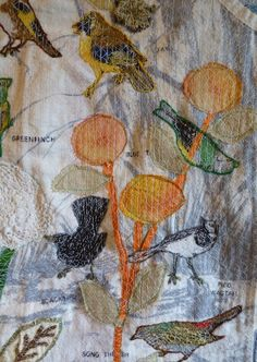 Garden Bird Apron (detail) by Anne Kelly Textiles
