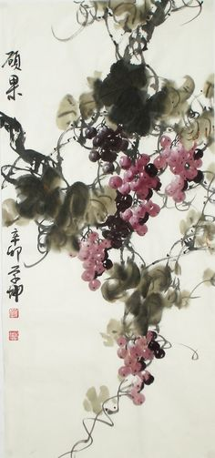 Fruitfulness Abstract art Chinese Ink Brush Painting, 100*50cm Chinese wall scroll painting Birds & Flowers Freehand brush work Artist original works of handwriting Rice paper Traditional art painting. USD $ 246.00