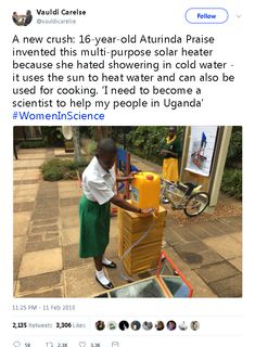 Young woman scientist helping her people in Uganda Who Runs The World, We Are The World, In This World, The More You Know, Good To Know, Gives Me Hope, Faith In Humanity Restored, Good People, Amazing People