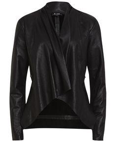 Drape Front Leather Jacket - Bardot