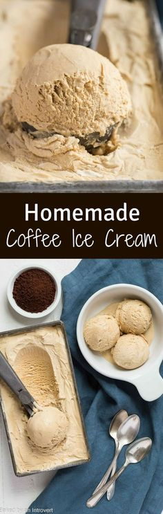 Homemade Coffee Ice Cream made just like old fashioned ice cream! This recipe will satisfy your sweet coffee cravings any time you have them! via \/introvertbaker\/