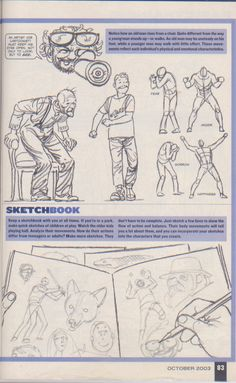 Scan from Wizard Magazine 144. Basic Training: Part 3 of 6 Joe Kubert shows how to draw characters p83.