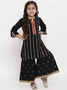 Kids Ethnic Wear, Kurta Style, Kids Outfits, Cute Outfits, Sharara, Kurta Designs, Kids Fashion, Fashion Design, Black Stripes