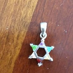 925 Sterling Silver Swarovski Rainbow Crystal Jewish Star of David Pendant Charm | eBay