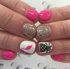 Pink and flamingo nails Fancy Nails, Cute Nails, Pretty Nails, Shellac Nails Fall, Diy Nails, Acrylic Nails, Pineapple Nails, Flamingo Nails, Vacation Nails