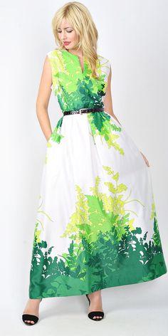 Vintage 70s White Green Maxi Dress Mod Boho by thekissingtree
