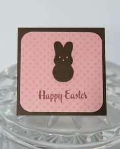 Pink Polka Dot Chocolate Bunny Mini Easter Card | Laurascrafts - Cards on ArtFire
