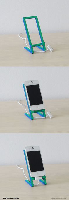 DIY iPhone Stand made of wood.