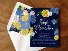 """""""Mom to bee"""" Baby shower invitation #green, #yellow, and #navy #blue #TheCharmStudio"""