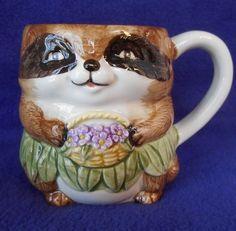 Vintage RACCOON Mug ~ by Mary Ann Baker Ceramic for Otagiri Japan  #Otagiri