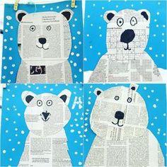 Wir sind voll drin im Thema Eisbären und machen im Kunstunterricht gefühlt nix We are fully in the subject of polar bears and make felt in art lessons nothing Animal Crafts For Kids, Winter Crafts For Kids, Art For Kids, Winter Kids, Kindergarten Art, Preschool, Winter Art Projects, Bear Crafts, Winter Theme