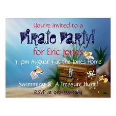 Personalized Underwater Pirate Birthday Party Postcard