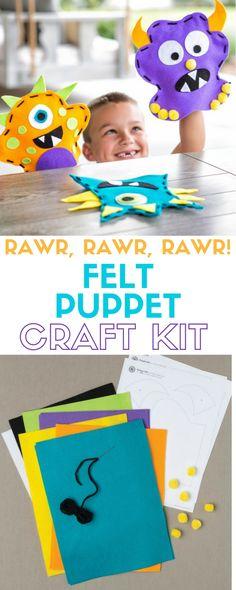 Rawr, Rawr, Rawr! Felt Hand Puppets |  Kids Craft | Monsters | Craft Kit