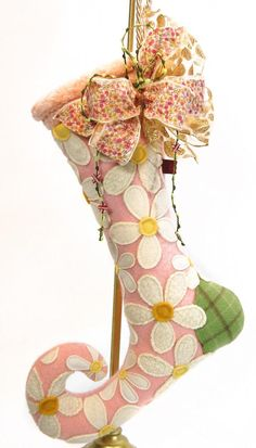 Lenae May 'Winter Daisies' Fiber Art Elfin Stocking