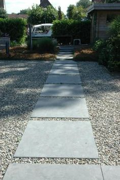 simple concrete pavers with gravel