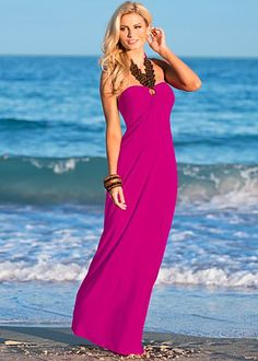 "VENUS Fuchsia (FS) Wood Trim Halter Maxi $39  The balance of nature and beauty is a delicate matter and you wear it so very well. ·   Sizes: XS (2), S (4-6), M (8-10), L (12-14), XL (16)     ·   Keyhole at center back     ·   Halter ties at neck     ·   42"" in length from natural waist     ·   Poly/spandex. Made in USA     ·   Style #Y48341"