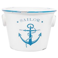 Blue/White Ceramic Anchor Oval Planter - 5in