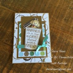 Coffee Cafe' Stamp Set and Coffee Break DSP with the beautiful Bella & Friends Stamp and a touch of Pool Party Shimmer Ribbon. Coffee Cards, Stampin Up Catalog, Dog Cards, Stamping Up Cards, Animal Cards, Cards For Friends, Card Maker, Coffee Set, Coffee Break
