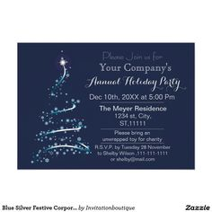 Blue Silver Festive Corporate holiday party Invite #eventprofs #party #invitations #christmas #xmas #christmasparty #eventplanners #partyplanners #party
