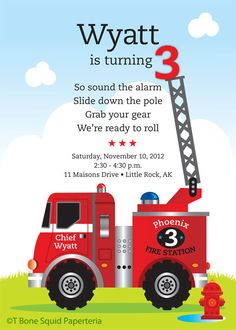 Fire Engine Birthday Party Invitation for kids by TBoneSquid, $15.00