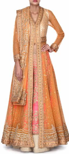 Buy this Pink lehenga mathced iwht long orange embroidered blouse only on Kalki