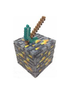 Minecraft Inspired Gold Ore Bank by BeadProShop on Etsy, $15.00