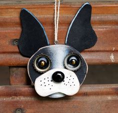 Dog Ornament Recycled Hand Made Ornament by KingsBenchCreations, $15.00