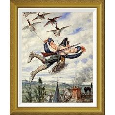 Global Gallery 'Illustrations For The Adventures of Baron Munchausen' by Alphonse Adolf Bichard Framed Wall Art Size: