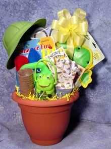 Kids gardening gift basket- No way I'm spending that much but it does give me an idea for a candy-free easter basket