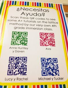 Create QR Codes of Student Demonstrations/Tutorials with the Educreations App. Display QR code tutorials for other students to scan and learn from their peers. Super cool and not hard to do at all! Have KINDLE create aura tutorial. Teaching Technology, Technology Integration, Educational Technology, Teaching Resources, Teaching Ideas, Spanish Classroom, Math Classroom, Teaching Spanish, Classroom Ideas