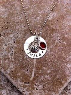 Ladybug+Necklace+with+Charm++Hand+Stamped+by+ClassyCommotion,+$12.99