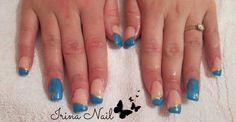 Blue manicure nail art by Irina Nail