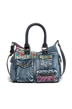 "Designed in Spain by Desigual. Bag - ""London Mini Ethnic Deluxe"". Denim bag with lots of pockets, embroidered details and a zipper fastening.    Measurements: 26.5 x 13 x 21 cm.    London Mini Ethnic Bag by DESIGUAL. Bags - Shoulder & Hobo Hawaii"