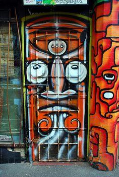 Painted door in Melbourne, Australia.