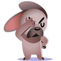Mugsy Facebook Stickers by Ghostbot. A little French bulldog who makes big trouble