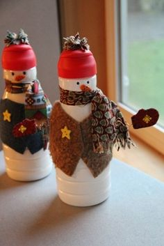 These are even better than the sock snowmen we make every year.  And I certainly have an endless supply of creamer bottles!