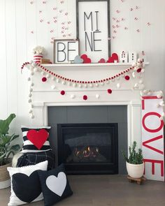 Be Mine Valentine's Day Mantel Ideas! Create a beautiful mantel with these e… Be Mine Valentine's Day Mantel Ideas! Create a beautiful mantel with these easy and inexpensive DIY ideas — modern metal letter typography signs, banners and paper hearts! Roses Valentine, Little Valentine, Valentine Day Love, Valentines Day Party, Funny Valentine, Valentine Day Crafts, Romantic Valentines Day Ideas, Valentines Day Desserts, Homemade Valentines