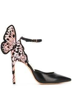 Black and pink leather Chiara D'orsay pumps from Sophia Webster featuring a pointed toe, an ankle strap with a side buckle fastening, a high heel and an embroidered design. Sophia Webster Chiara, Sophia Webster Shoes, Pink Leather, Calf Leather, Kawaii Accessories, Rocker Chic, Dream Shoes, Black Pumps, Pump Shoes