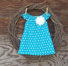 Girls Easter Dress Aqua Polka Dot Dress  by SouthernSister2, $25.00